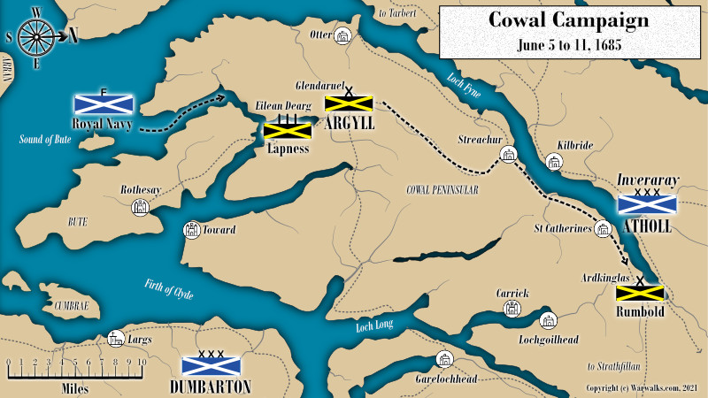Map showing the Cowal Peninsular and Argyll moves to secure his base.