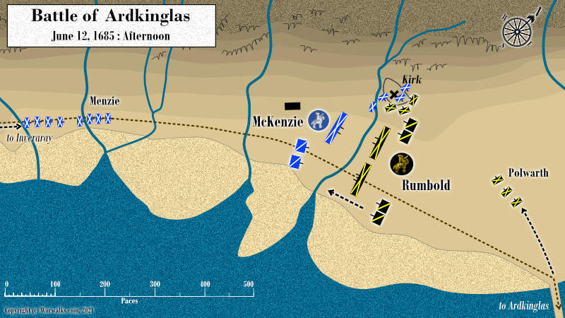 Map showing the battle at Ardkinglas between the forces of Argyll and the Government of King James VII.