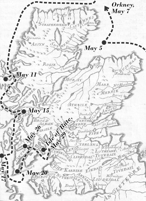 Map showing Argyll journey to the Isle of Bute