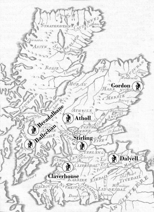 Map showing the disposition of Scottish Government troops in May 1685