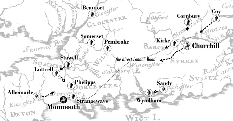 Map showing the Governments reaction to Monmouth landing at Lyme on June 11, 1685