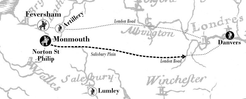 Map showing Monmouth's next move on reaching Norton St Philip on 26 June 1685